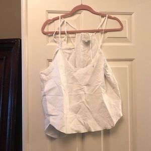 White Michelle Mason halter crop top leather !